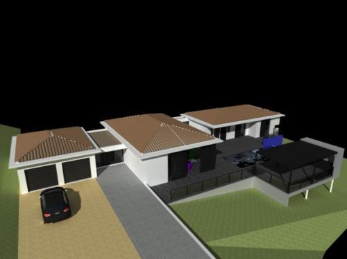 Maison dans la pente à Poussan