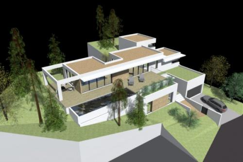 Maison contemporaine dans la pente à Calvisson